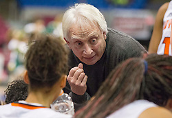 South Charleston head coach Gary Greene talks to his team during a timeout against Greenbrier East during a first round game at the Charleston Civic Center.