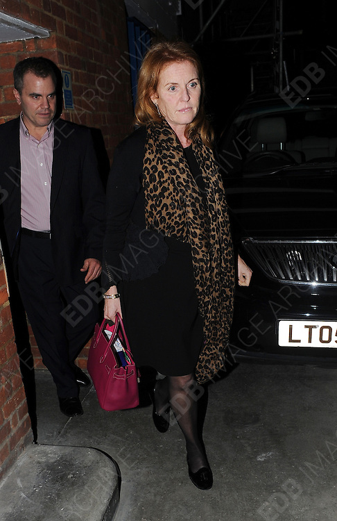 19.JANUARY.2012 LONDON<br /> <br /> SARAH FERGUSON LEAVING RESTAURANT 34 IN MAYFAIR VIA THE BACK DOOR WITH FRIENDS.<br /> <br /> BYLINE: EDBIMAGEARCHIVE.COM<br /> <br /> *THIS IMAGE IS STRICTLY FOR UK NEWSPAPERS AND MAGAZINES ONLY*<br /> *FOR WORLD WIDE SALES AND WEB USE PLEASE CONTACT EDBIMAGEARCHIVE - 0208 954 5968*