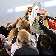 New York Red Bulls platers and fans with the supporters shield after the New York Red Bulls V Chicago Fire, Major League Soccer regular season match at Red Bull Arena, Harrison, New Jersey. USA. 27th October 2013. Photo Tim Clayton