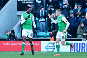 Efe Ambrose (#25) of Hibernian celebrates Hibernian's first goal (1-2) with Anthony Stokes (#28) of Hibernian during the Ladbrokes Scottish Premiership match between Hibernian and Celtic at Easter Road, Edinburgh, Scotland on 10 December 2017. Photo by Craig Doyle.