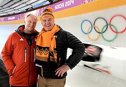 14-02-2014 BOBSLEE: OLYMPIC GAMES: SOTSJI<br /> Training 2 mans bob vrouwen op het Sliding Center Sanki / Bobslee expert Wim Noorman en Andre Bolhuis<br /> ©2014-FotoHoogendoorn.nl