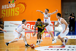 Roy-Devyn-Lane Marble of Aris between Luka Voncina #44 of Helios Suns, Jure Mocnik #4 of Helios Suns and Simo Atanackovic #24 of Helios Suns during basketball match between KK Helios Suns (SLO) and Aris B.S.A.-2003 (GRE) in Round #1 of FIBA Champions League 2016/17, on October 18, 2016 in Sports arena Domzale, Slovenia. Photo by Vid Ponikvar / Sportida