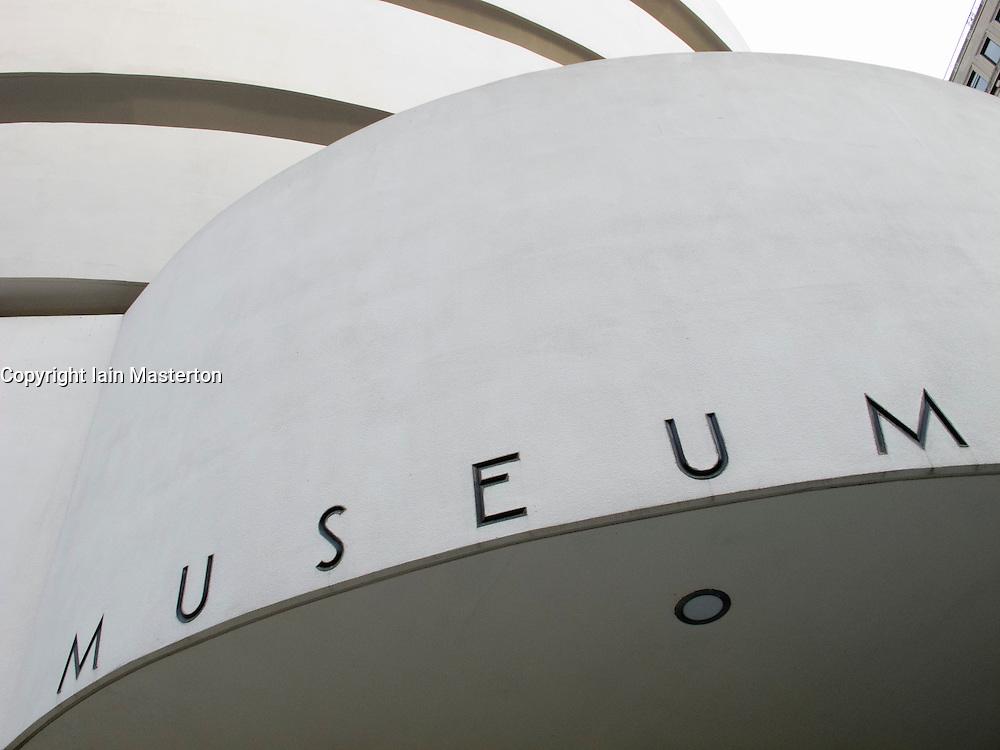 Exterior detail of of Guggenheim Museum in Manhattan New York City USA