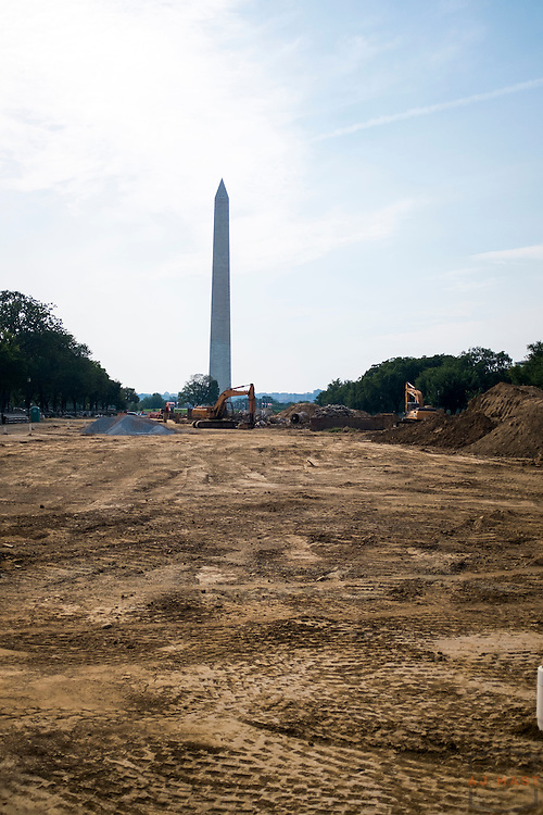 The National Mall undergoes refurbishment with the Washington monument in the background in Washington, D.C., Sunday, Aug. 30, 2015. (AJ Mast )