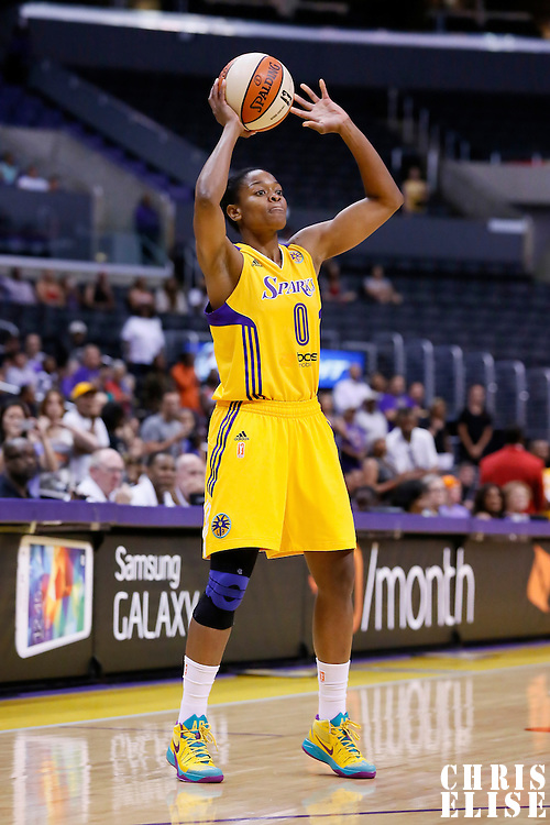 24 July 2014: Los Angeles Sparks guard/forward Alana Beard (0) looks to pass the ball during the Phoenix Mercury 93-73 victory over the Los Angeles Sparks, at the Staples Center, Los Angeles, California, USA.
