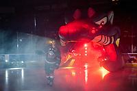 KELOWNA, CANADA - SEPTEMBER 22:  Kelvin Hair #3 of the Kelowna Rockets enters the ice against the Kamloops Blazers on September 22, 2018 at Prospera Place in Kelowna, British Columbia, Canada.  (Photo by Marissa Baecker/Shoot the Breeze)  *** Local Caption ***