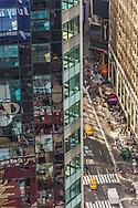New York .  reflections on a mirror tower, the beterlsman building, Times square on Broadway  - United states  / reflets sur les buildings de times square et broadway,   New york - Etats unis