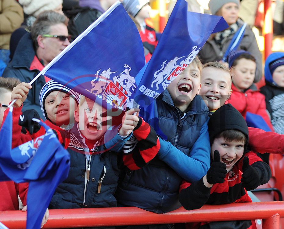 Bristol supporters at Ashton Gate for Bristol Rugby's Greene King IPA Championship game against Yorkshire Carnegie - Photo mandatory by-line: Paul Knight/JMP - Mobile: 07966 386802 - 18/01/2015 - SPORT - Rugby - Bristol - Ashton Gate Stadium - Bristol Rugby v Yorkshire Carnegie - Greene King IPA Championship