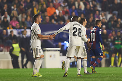 February 24, 2019 - Valencia, Valencia, Spain - Real Madrid players celebrates a goal during the La Liga match between Levante and Real Madrid at Estadio Ciutat de Valencia on February 24, 2019 in Valencia, Spain. (Credit Image: © AFP7 via ZUMA Wire)