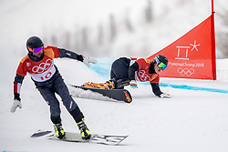 24-02-2018 KOR: Olympic Games day 15, PyeongChang<br /> Parallel Giant Slalom / Dmitry Sarsembaev RUS en Andreas Prommegger GER #10