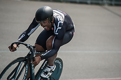 A rider completes his 200m time trial at the start of the Sprint competition - Brixton Super Madison, Herne Hill Velodrome, Herne Hill, UK on 22 June 2014. Photo: Simon Parker