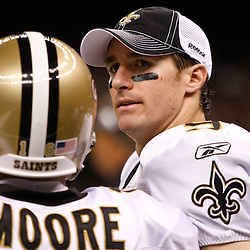 August 27, 2010; New Orleans, LA, USA; New Orleans Saints quarterback Drew Brees (9) during the second half of a preseason game at the Louisiana Superdome. The New Orleans Saints defeated the San Diego Chargers 36-21. Mandatory Credit: Derick E. Hingle