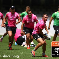 Curwin Bosch of the Cell C Sharks during The Cell C Sharks training session at Jonsson Kings Park Stadium in Durban, South Africa. 6th February 2019 (Photo by Steve Haag)