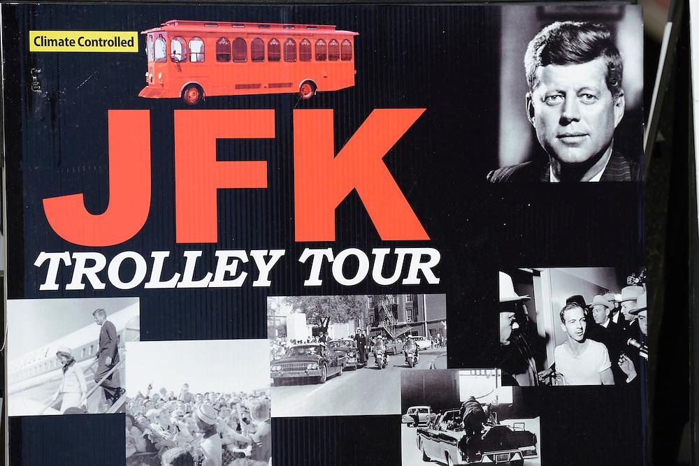 Advertising for JFK tour,Dallas, Texas,USA