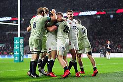 Jonny May of England celebrates his second half try with team-mates - Mandatory byline: Patrick Khachfe/JMP - 07966 386802 - 18/11/2017 - RUGBY UNION - Twickenham Stadium - London, England - England v Australia - Old Mutual Wealth Series International
