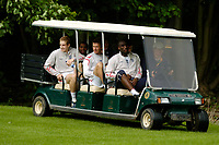 Photo: Richard Lane.<br />England Training Session. 22/05/2006.<br />England's players hitch a ride on a golf buggy during training.