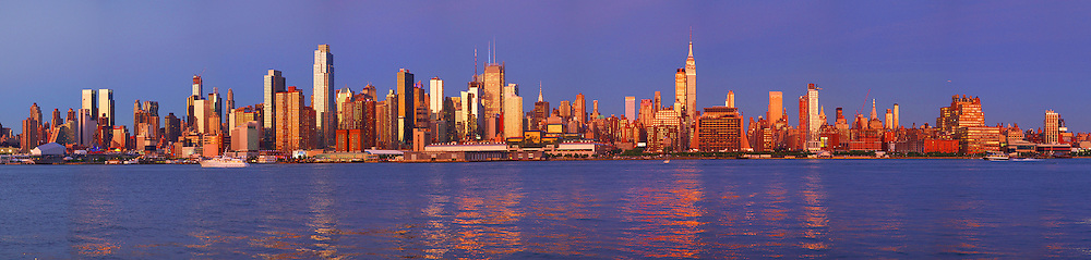 New York City Skyline at Sunset From New Jersey with Reflections on the Hudson River
