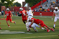 03 September 2016:  Bryce Holm sticks Jarrett Morgan NCAA FCS Football game between Valparaiso Crusaders and Illinois State Redbirds at Hancock Stadium in Normal IL (Photo by Alan Look)