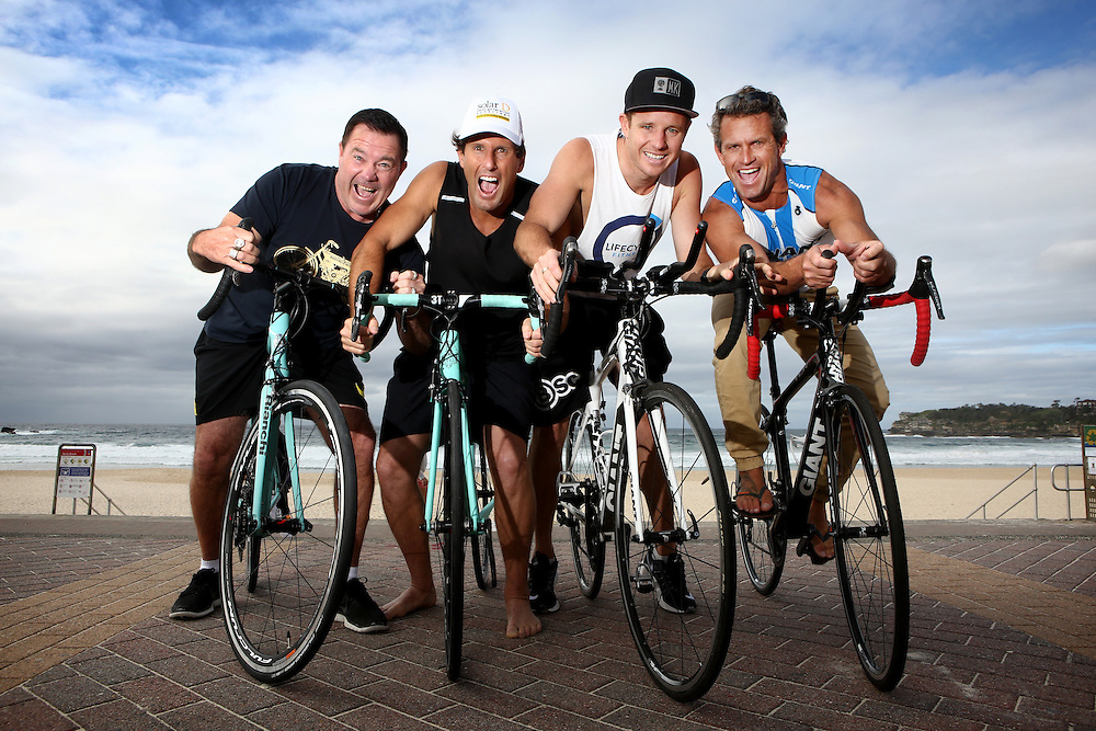 Bondi Rescue Lifesavers for Sydney City Ride, L-R; Kerrbox, Harries, Whippet and Corey.  Photo Chris Pavlich