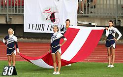 27.07.2010, Wetzlar Stadion, Wetzlar, GER, Football EM 2010, Team Austria vs Team Finland, im Bild Cheerleader mit oesterreichischer Fahne,  EXPA Pictures © 2010, PhotoCredit: EXPA/ T. Haumer / SPORTIDA PHOTO AGENCY