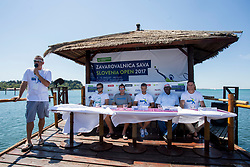 Gasper Bolhar, Tom Kocevar Desman, Grega Zemlja, Tournament director Aljaz Kos, Mayor of Piran Peter Bossman and Director of Tenis Slovenija Gregor Krusic at ATP Challenger Zavarovalnica Sava Slovenia Open 2017, on August 7, 2017 in Sports centre, Portoroz/Portorose, Slovenia. Photo by Urban Urbanc / Sportida