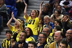 March 2, 2018 - Madrid, Madrid, Spain - Fenerbahce fans shout slogans during the 2017/2018 Turkish Airlines EuroLeague Regular Season Round 24 game between Real Madrid and Fenerbahce Dogus Istanbul at WiZink center in Madrid. (Credit Image: © Jorge Sanz/Pacific Press via ZUMA Wire)