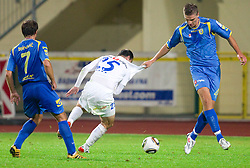 Sebastjan Gobec of Celje vs Jovan Vidovic of Domzale during the football match between NK Domzale and MIK CM Celje, played in the 10th Round of Prva liga football league 2010 - 2011, on September 22, 2010, Spors park, Domzale, Slovenia. Domzale defeated Celje 1 - 0. (Photo by Vid Ponikvar / Sportida)