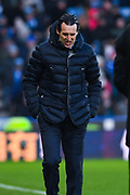 Unai Emery of Arsenal (Manager) in action during the Premier League match between Huddersfield Town and Arsenal at the John Smiths Stadium, Huddersfield, England on 9 February 2019.