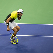 2019 US Open Tennis Tournament- Day Twelve. Matteo Berrettini of Italy reacts as he misses a set point in the first set against Rafael Nadal of Spain in the Men's Singles Semi-Finals match on Arthur Ashe Stadium during the 2019 US Open Tennis Tournament at the USTA Billie Jean King National Tennis Center on September 6th, 2019 in Flushing, Queens, New York City.  (Photo by Tim Clayton/Corbis via Getty Images)