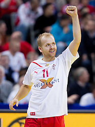Anders Eggert Jensen of Denmark reacts during final handball match between Serbia and Denmark at 10th EHF European Handball Championship Serbia 2012, on January 29, 2012 in Beogradska Arena, Belgrade, Serbia.  (Photo By Vid Ponikvar / Sportida.com)