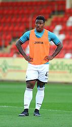 Tyler Reid of Swansea City U21 during warm up - Mandatory by-line: Nizaam Jones/JMP - 15/08/2017 - FOOTBALL - LCI Rail Stadium - Cheltenham, England - Cheltenham Town v Swansea City U21 - Checkatrade Trophy