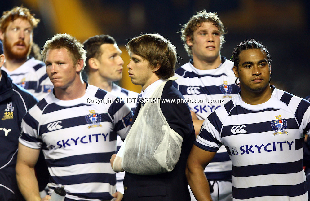 Dejected Auckland players, Tom McCartney, Lachie Munro, Dean Budd and Taniela Moa.<br />