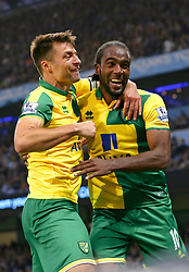 Cameron Jerome of Norwich City celebrates after scoring the equalising goal to make it 1-1 - Mandatory byline: Matt McNulty/JMP - 07966 386802 - 31/10/2015 - FOOTBALL - Etihad Stadium - Manchester, England - Manchester City v Norwich City - Barclays Premier League