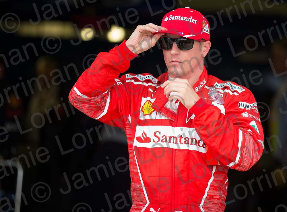 The 2017 Formula 1 Rolex British Grand Prix at Silverstone Circuit, Northamptonshire.<br /> <br /> Pictured: Ferrari's Kimi Raikkonen qualifies second on the grid at the British F1 Grand Prix.<br /> <br /> Jamie Lorriman<br /> mail@jamielorriman.co.uk<br /> www.jamielorriman.co.uk<br /> +44 7718 900288
