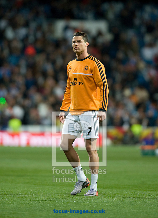 Cristiano Ronaldo of Real Madrid during the warm up of La Liga match at the Estadio Santiago Bernabeu, Madrid<br /> Picture by Marcos Calvo Mesa/Focus Images Ltd +34 654142934<br /> 23/03/2014