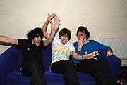Jamie Reynolds, James Righton and Simon Taylor-Davis, Klaxons backstage, Klaxons gig, February 2007