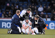 Wycombe, GREAT BRITAIN, Sales' Chris JONES, attended to for an injured shoulder, during the Guinness Premiership game, London Wasps vs Sale Sharks 15.04.2008 [Mandatory Credit Peter Spurrier/Intersport Images]