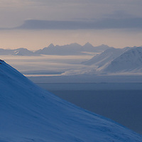 Spitsbergen blue mountains and ocean