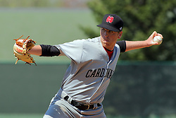 17 April 2016:  Relief pitcher Michael Sweeney during an NCAA division 3 College Conference of Illinois and Wisconsin (CCIW) Pay in Baseball game during the Conference Championship series between the North Central Cardinals and the Illinois Wesleyan Titans at Jack Horenberger Stadium, Bloomington IL