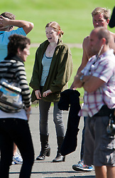 """Brad Pitt's co-star Mireille Enos on the set of the movie """"World War Z"""" being shot today in Grangemouth, Scotland. The film, which is set in Philadelphia, is being shot in various parts of the Glasgow, transforming it to shoot the post apocalyptic zombie film.."""