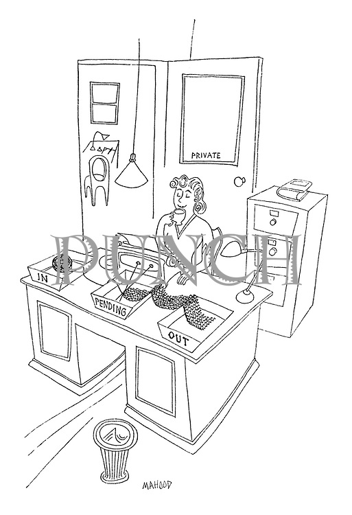(A secretary spreads her knitting across her in, pending and out-trays)