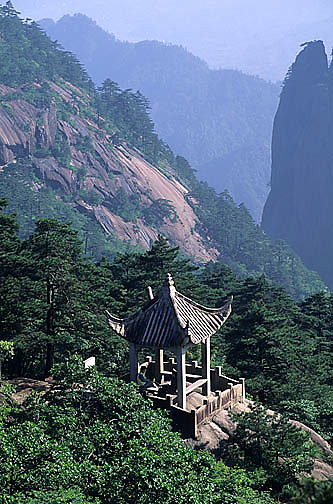 China, mountains, Yellow mountains. Pagoda for tourists.