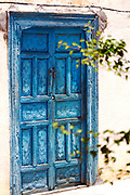 AOULOUZ, MOROCCO - May 24th 2015 - Blue doorway, Agouni n Fad village near Aoulouz, Taliouine & Taroudant Province, Souss Massa Draa region of Southern Morocco.