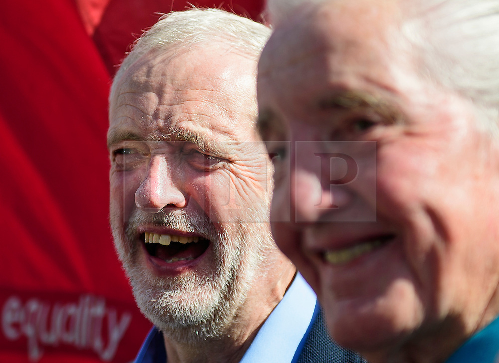 © Licensed to London News Pictures. 13/09/2016. London, UK.  Labour Party leader JEREMY CORBYN and DENNIS SKINNER MP attend a rally outside the Parliament in London for the Orgreave Truth and Justice Campaign, which calls for a public inquiry into the June 1984 confrontation between police and pickets at the British Steel Corporation coking plant in Orgreave, South Yorkshire. Photo credit: Ben Cawthra/LNP