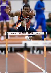 Adams Abdulrazaaq (Virginia) in the men's 55m hurdles.  Day 1 of the Virginia Tech Invitational Track and Field meet was held at the Rector Field House on the campus of Virginia Tech in Blacksburg, VA on January 11, 2008.