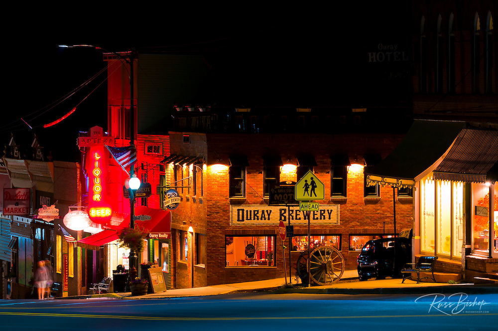Downtown shops at night, Ouray, Colorado