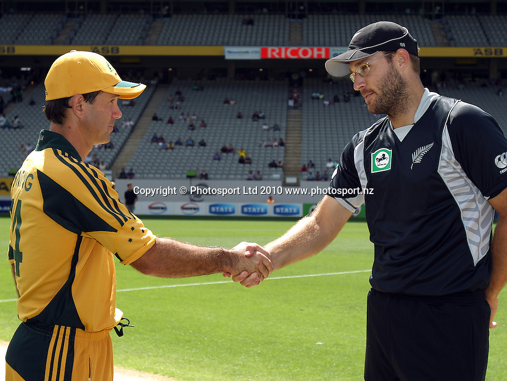 Ricky Ponting and Daniel Vettori shake hands at the coin toss.<br />4th one day international. New Zealand Black Caps versus Australia one day match.<br />Chappell Hadlee cricket series. Eden Park, Auckland, New Zealand. Thursday 11 March 2010. Photo: Andrew Cornaga/PHOTOSPORT