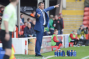 Southend United manager Phil Brown gives instructions 0-1 during the EFL Sky Bet League 1 match between Walsall and Southend United at the Banks's Stadium, Walsall, England on 28 October 2017. Photo by Alan Franklin.