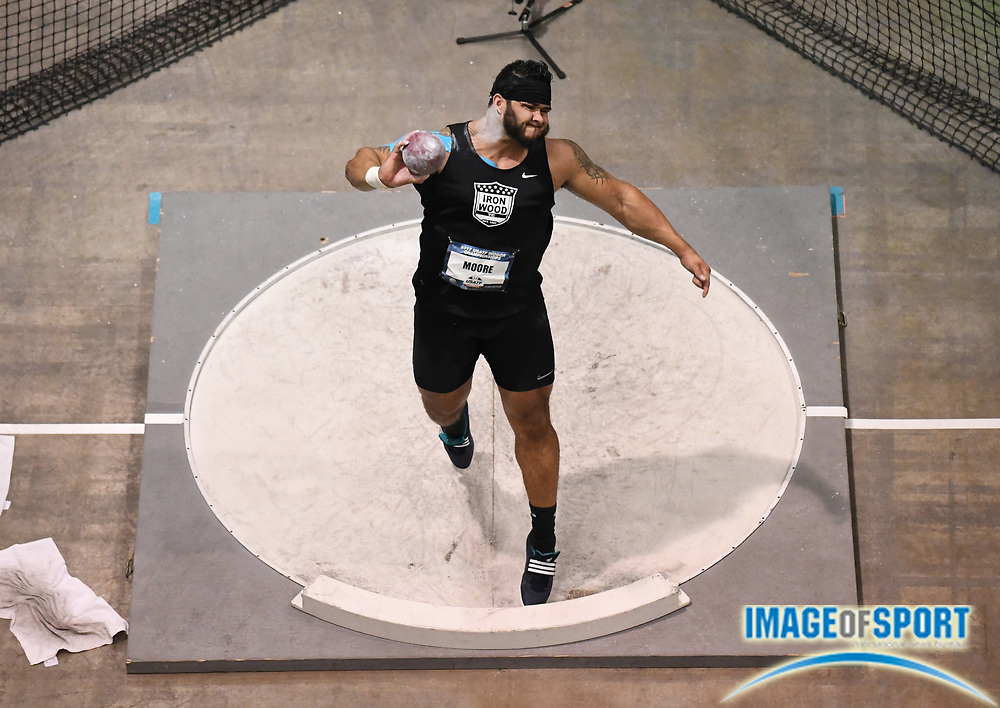 Mar 4, 2017; Albuquerque, NM, USA: Darrien Moore wins the shot put at 68-2 1/4 (20.10m) during the USA Indoor Championships at Albuquerque Convention Center.
