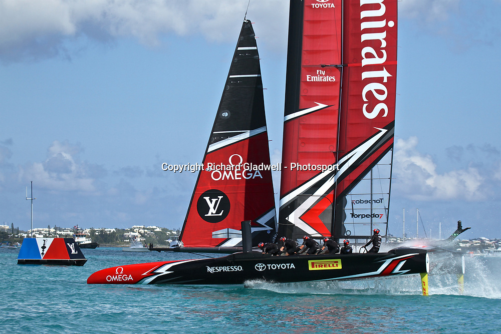 Emirates Team NZ's victory dip for the crowd at the end of race 11 - 35th America's Cup - Bermuda  May 28, 2017 . Copyright Image: Richard Gladwell / Sail World / www.photosport.nz